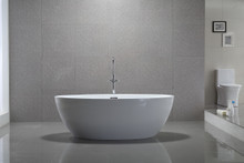 Vanity Art Freestanding White Acrylic 55 inch x 32 inch Bathtub with Slotted Overflow and Drain