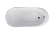 Vanity Art Freestanding White Acrylic 70 inch x 34 inch Bathtub with Overflow and Drain