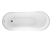 Vanity Art Freestanding White Acrylic 67 inch x 29 inch Bathtub with Slotted Overflow and Drain