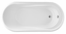 Vanity Art Freestanding White Acrylic 67 inch x 32 inch Bathtub with Overflow and Drain