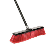 Alpine 460-24-2 Smooth Surface Push Broom 24 inch - Black/Red