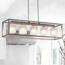 Vanity Art 10015AS Elegant Cut Crystal Glass 5 Light Linear Pendant Lighting - Antique Silver