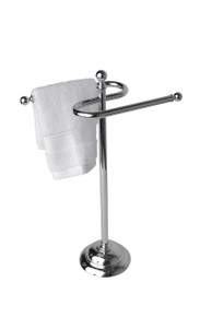 Valsan 53507UB Essentials Free Standing Double Guest Towel Holder Rail - Unlacquered Brass