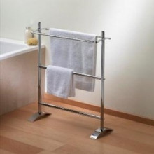 Valsan 53519UB VDS Freestanding Small Double Towel Holder - Unlacquered Brass