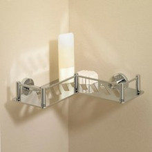 Valsan 53609UB Essentials L-Shaped Shower Shelf / Basket - Unlacquered Brass