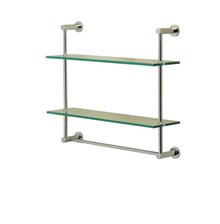 Valsan 57308UB Essentials 2-Tier Shelf w/ Towel Bar - Glass Shelf - Unlacquered Brass