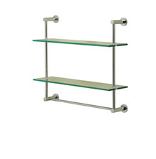 Valsan 57308UB Essentials 2-Tier Shelf w/ Towel Bar - Glass Shelf - Unlacquered Brass