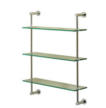 Valsan 57309UB Essentials 3-Tier Shelf Unit - Glass Shelf - Unlacquered Brass