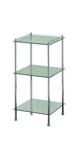 Valsan 57400UB Essentials 3-Tier Glass Shelf Unit - Unlacquered Brass