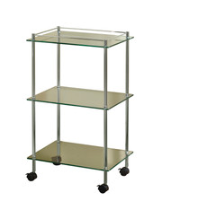 Valsan 57405UB Essentials 3-Tier Bathroom Towel - Soap Cart w/ Wheels - Unlacquered Brass