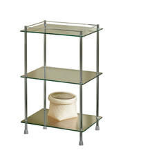 "Valsan 57406UB Essentials Freestanding Three Tier Glass Shelf Unit with Feet 29 1/2"" X 18 X 11"" - Unlacquered Brass"