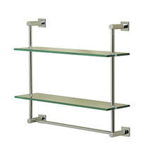 Valsan 67308UB Essentials Wall Mounted Two Tier Glass Shelf with Towel Rail & Braga Backplates - Unlacquered Brass