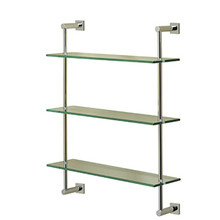 Valsan 67309UB Essentials Wall Mounted Three Tier Glass Shelf with Braga Backplates - Unlacquered Brass