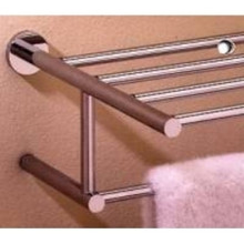 "Valsan 67563UB Porto 15 3/4"" Towel Bar & Shelf - Unlacquered Brass"