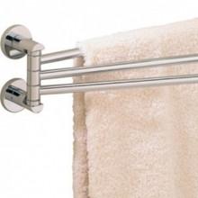 "Valsan 67570GD Porto 17 5/16"" Adjustable 3 Swivel Arm Towel Rail - Bar - Gold"