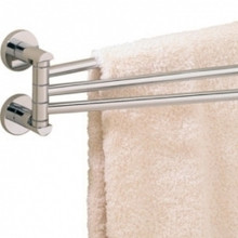"Valsan 67570PV Porto 17 5/16"" Adjustable 3 Swivel Arm Towel Rail - Bar - Polished Brass"