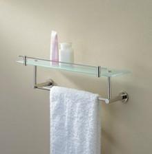 "Valsan 675861UB Porto Glass Shelf w 24"" Towel Rail - Bar - Unlacquered Brass"