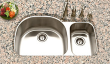"Hamat Eston 17 3/4"" x 18 1/2"" Double Bowl Kitchen Sink - Stainless Steel"