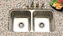 "Hamat Eston 14 1/16"" x 15 3/4"" Double Bowl Kitchen Sink - Stainless Steel"