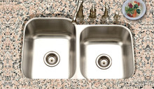 "Hamat Eston 14 1/16"" x 15 3/4"" & 14 1/16"" x 18"" 60/40 Double Bowl Kitchen Sink - Stainless Steel"