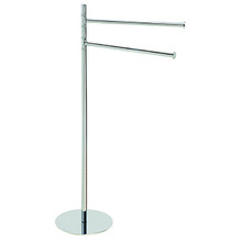 "Valsan PO699UB Pombo Omnia Freestanding Dual Swivel Arm Towel Bar 36"" H x 20"" W - Unlacquered Brass"