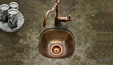 "Houzer Hammerwerks HW-SCH1BF 12-1/2"" x 12-1/2"" Schnapps Flat Lip Bar/Prep Sink - Antique Copper"