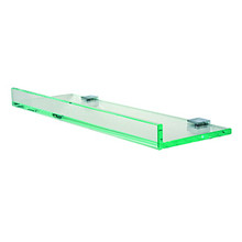 "Valsan PTR126040UB Pombo Tetris R Glass Shelf with Front Lip and Square Backplate 15 3/4"" X 4 7/8"" - Unlacquered Brass"