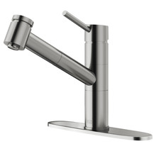 VIGO VG02021STK1 Branson Pull-Out Spray Kitchen Faucet With Deck Plate In Stainless Steel