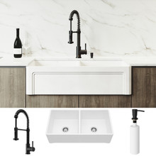 "VIGO VG15807 All-In-One 36"" Casement Front Matte Stone Double Bowl Farmhouse Apron Kitchen Sink Set With Edison Faucet In Matte Black, Two Strainers And Soap Dispenser"