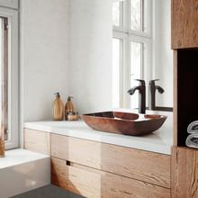 "VIGO VGT1600 18"" Rectangular Russet Glass Vessel Bathroom Sink Set With Linus Vessel Faucet In Antique Rubbed Bronze"