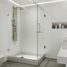 VIGO VG6012BNCL36WR Pacifica Frameless Shower Enclosure With Right Sided Opening And Base