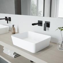 VIGO VGT981 Marigold Matte Stone Vessel Bathroom Sink Set With Atticus Wall Mount Faucet In Matte Black