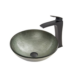 VIGO VGT609 Simply Silver Glass Vessel Bathroom Sink Set With Blackstonian Vessel Faucet In Matte Black
