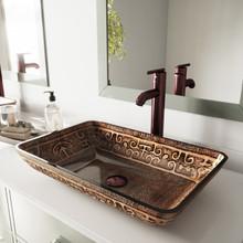 VIGO VGT284 Rectangular Golden Greek Glass Vessel Bathroom Sink Set With Seville Vessel Faucet In Oil Rubbed Bronze