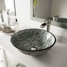VIGO VGT1056 Titanium Glass Vessel Bathroom Sink Set With Niko Vessel Faucet In Brushed Nickel
