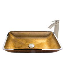 VIGO VGT513 Rectangular Copper Glass Vessel Bathroom Sink Set With Duris Vessel Faucet In Brushed Nickel