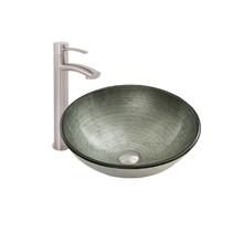 VIGO VGT1062 Simply Silver Glass Vessel Bathroom Sink Set With Milo Vessel Faucet In Brushed Nickel