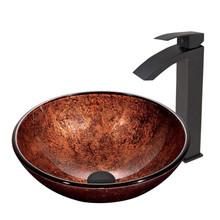VIGO VGT395 Mahogany Moon Glass Vessel Bathroom Sink Set With Duris Vessel Faucet In Matte Black