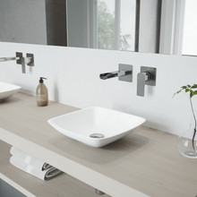 VIGO VGT972 Hyacinth Matte Stone Vessel Bathroom Sink Set With Atticus Wall Mount Faucet In Chrome