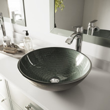 VIGO VGT839 Simply Silver Glass Vessel Sink and Linus Faucet Set in Chrome