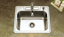 "Houzer 2522-9BS4-1 25"" X 22"" X 9"" One Bowl Kitchen Sink - Four Holes - Stainless Steel"