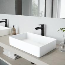 VIGO VGT944 Magnolia Matte Stone Vessel Bathroom Sink Set With Amada Faucet In Matte Black