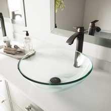 VIGO VGT894 Crystalline Glass Vessel Bathroom Sink Set With Linus Vessel Faucet In Antique Rubbed Bronze