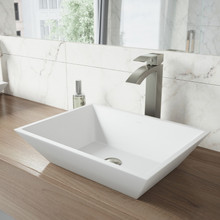 VIGO VGT1210 Vinca Matte Stone Vessel Bathroom Sink Set With Duris Vessel Faucet In Brushed Nickel