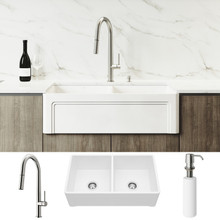 "VIGO VG15802 All-In-One 33"" Casement Front Matte Stone Double Bowl Farmhouse Apron Kitchen Sink Set With Greenwich Faucet In Stainless Steel, Two Strainers And Soap Dispenser"