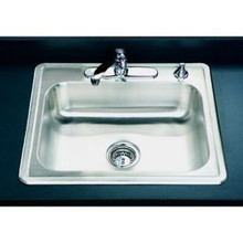 "Houzer 2522-8BS4-1 25"" X 22"" X 8"" One Bowl Kitchen Sink - Four Holes - Stainless Steel"