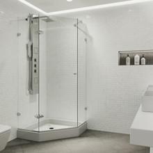 VIGO VG6061CHCL38W Verona Frameless Neo-Angle Shower Enclosure With Base