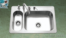 "Hamat Legend 33"" X 22"" 80/20 Double Bowl Kitchen Sink & Strainer - Stainless Steel"