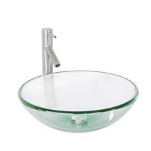 VIGO VGT889 Crystalline Glass Vessel Bathroom Sink Set With Dior Vessel Faucet In Brushed Nickel