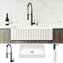"VIGO VG15783 All-In-One 36"" Matte Stone Farmhouse Apron Kitchen Sink Set With Laurelton Faucet In Matte Black, Strainer And Soap Dispenser"
